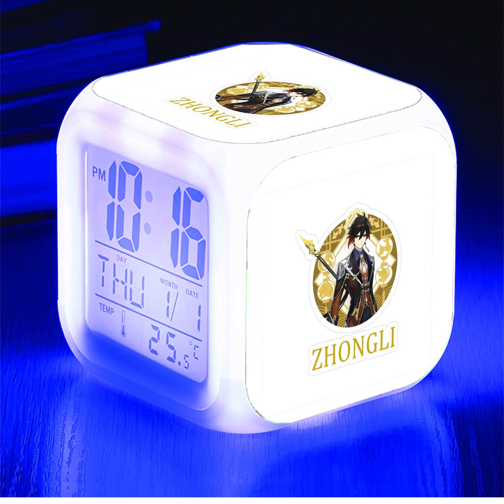 Đồng hồ báo thức để bàn in hình GENSHIN IMPACT game anime chibi LED đổi màu M3