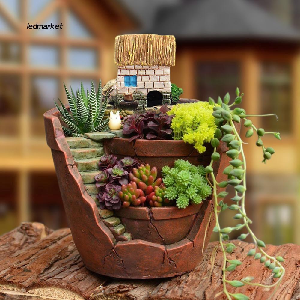 J_Cute Mini Succulent Planter Flower Plant Bonsai Pot Micro Landscape Garden