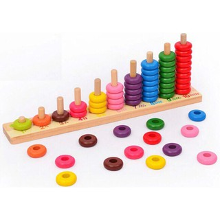 Giáo Cụ Montessori – Tháp Tính 10 Cột Xiên Vòng – Đồ Chơi Toán Học