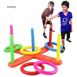 【EY】Hoop Ring Toss Plastic Quoits Garden Game Pool Toy Outdoor Family Kids Fun Set