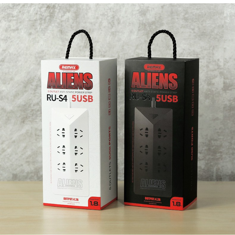 Ổ Cắm Điện Thông Minh REMAX RU-S4 (6 ổ cắm điện, 5 cổng sạc USB) (Đen) - Hãng phân phối chính