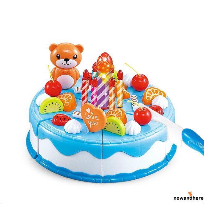 NNE-Hot ! 37Pcs Baby Girl Boy Fruit Birthday Cake Gift Cookie Cupcake Pretend