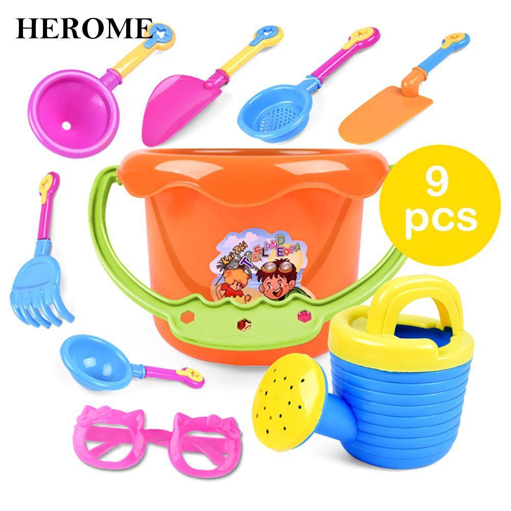 Hot 9Pcs Plastic/Resin Bucket Spade Water Children Kids Sand Beach Playing Chic