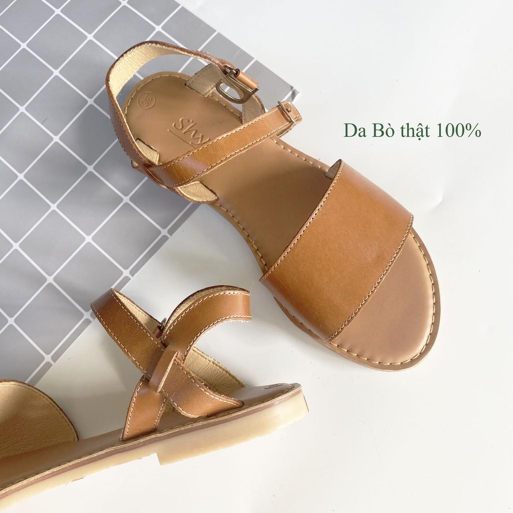 Giày sandal đế bệt DA BÒ bản ngang to, mũi tròn, quai hậu, khóa cài phù hợp đi học, công sở S017