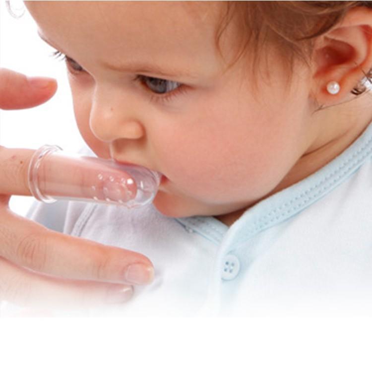 Tưa lưỡi silicon làm sạch răng miệng cho bé, Rơ lưỡi xỏ ngón chống tưa miệng dai, mềm, an toàn cho bé, Kiki Shop
