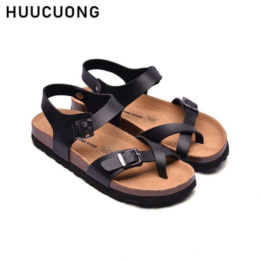 Giày Sandal Xỏ Ngón HUUCUONG Quai Da Pu Màu Đen Đế Trấu