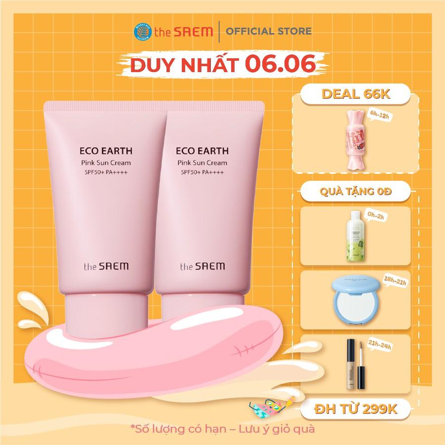 [Combo 2 sản phẩm] Kem chống nắng The Saem Eco Earth Pink Sun Cream 50g + Kem chống nắng Pink 50g