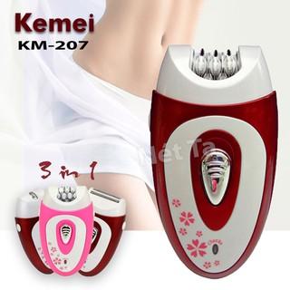 Máy tẩy lông Kemei KM-207 đa năng 3in1 chuyên dùng tỉa, cạo nhổ lông toàn thân, tẩy lông tay, chân, vùng bikini an toàn