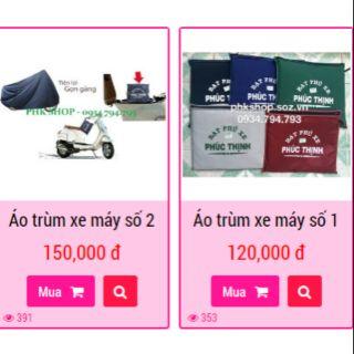 Yêu ThíchBạt phủ xe máy áo trùm xe máy vải dù Phúc Thịnh phân phối tại phkshop.com