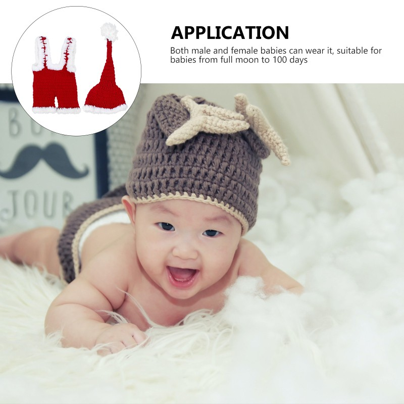 1 Set Adorable Babies Costume Hand-knitted Babies Xmas Hat Toddlers Costume