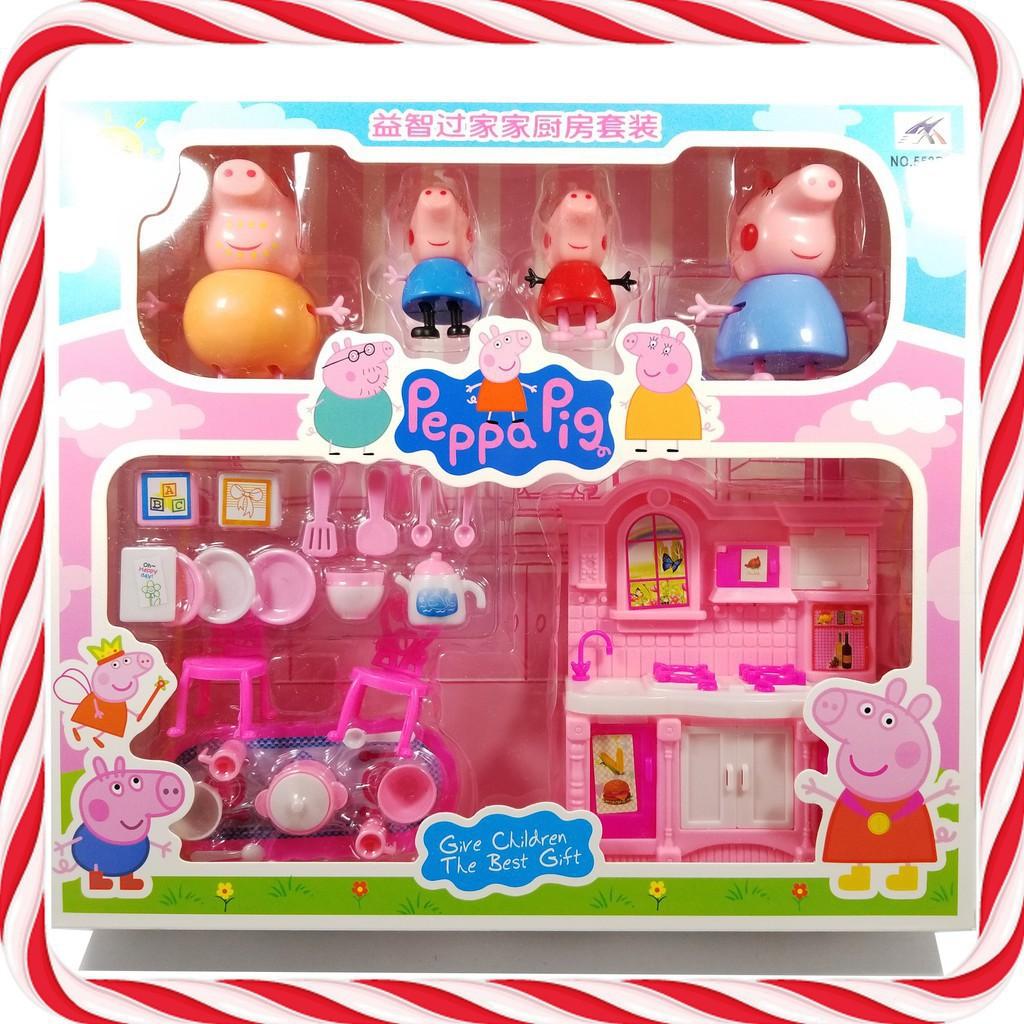 Đồ Chơi Tủ Bếp Peppa Pig, Bếp Gia Đình Heo Cho Bé Học Về Vật Dụng Trong Nhà Bếp Và Chăm Sóc Gia Đình