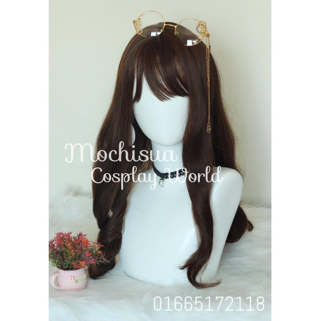 Tóc Giả - Wig Lolita Nâu Xoăn Mái Thưa