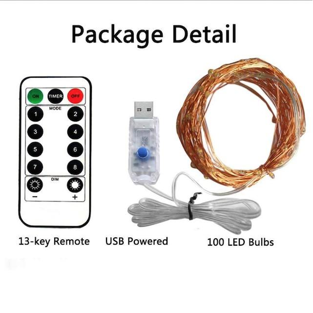 15M Dây Đèn Led Trang Trí có remote điều khiển, đèn đom đóm led chớp nháy dây đồng fairy light