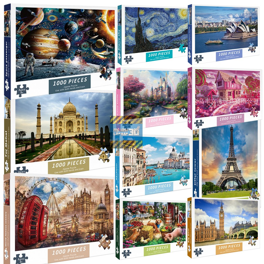 Bộ tranh ghép hình 1000 mảnh Tháp Eiffel, Big Ben, Tranh Van Gogh, Hệ mặt trời – Tranh ghép hình kích thước lớn 75*50cm