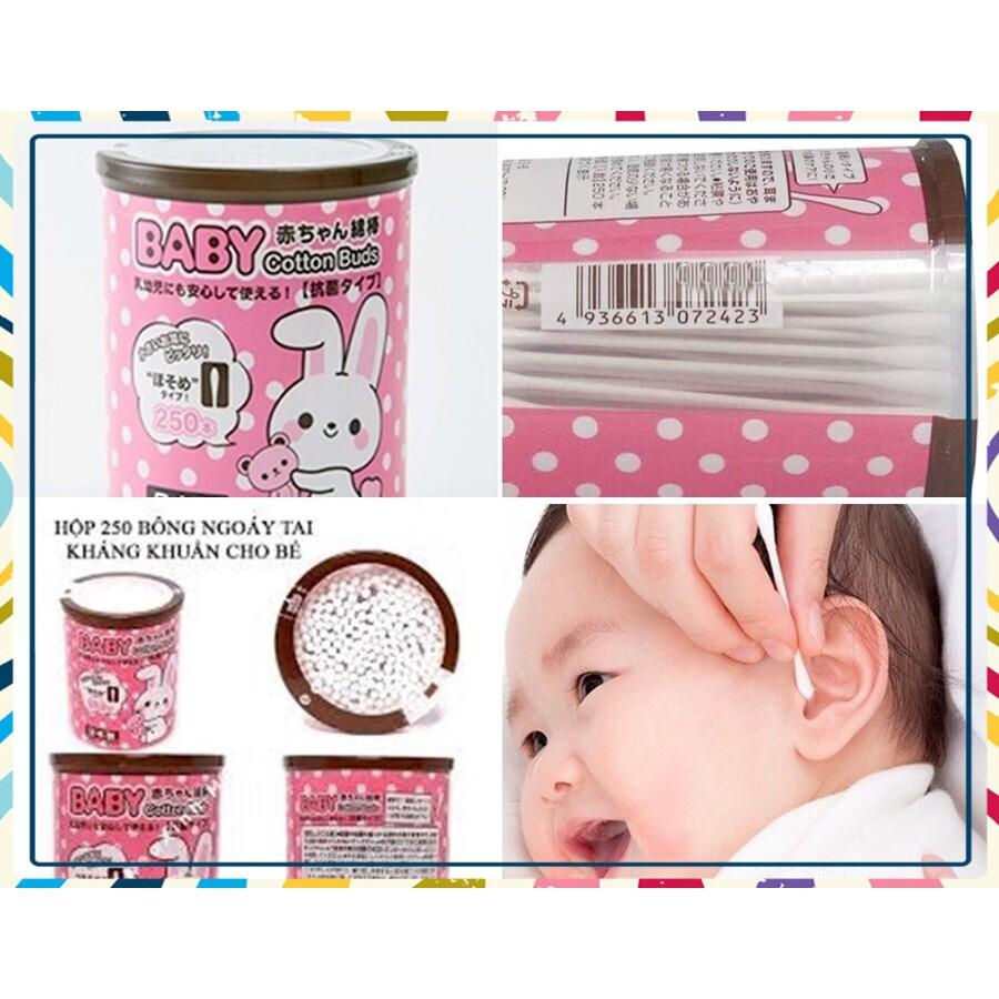 (Ưu Đãi Hấp Dẫn)Set 250 bông ngoáy tai kháng khuẩn cao cấp an toàn cho bé