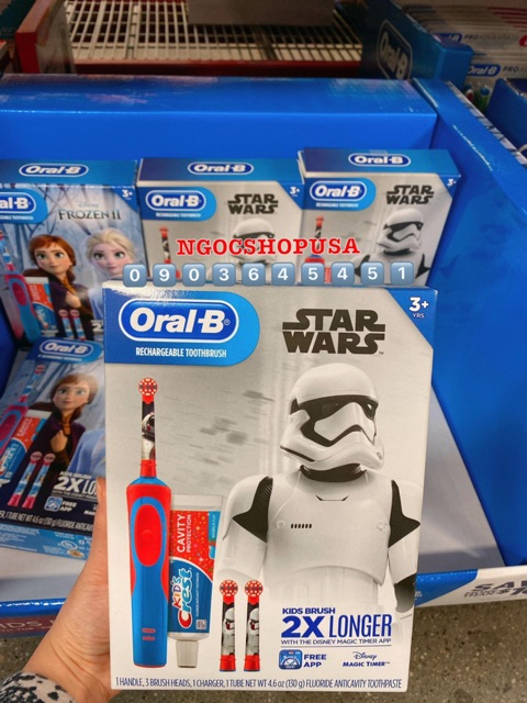 Hàng Mỹ🇺🇸Bộ bàn chải điện trẻ em Oral-B Kid Disney's Frozen Or Star Wars Rechargeable