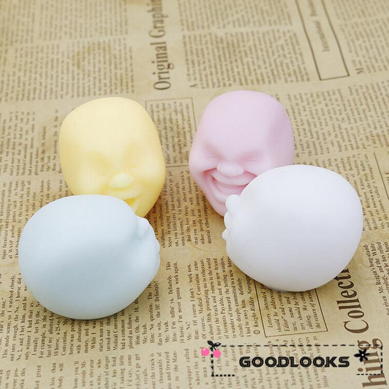 HGL♪New Chic Squeeze Squishy Scented Human Face Slow Rising Stretch Toy Phone