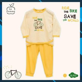 SL152 Bộ quần áo dài tay bé gái xe đạp La pomme size 6 tháng đến 5 tuổi chất liệu Jacquard cotton kháng khuẩn