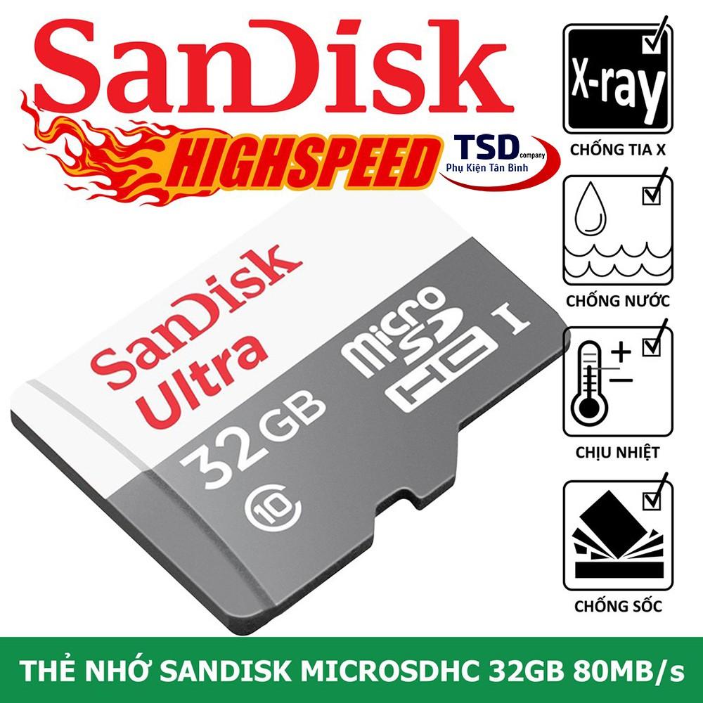 Thẻ Nhớ 32GB Sandisk 80mb/s Micro SD Chính Hãng Bảo Hành 5 Năm