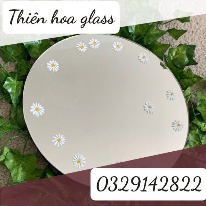 [Rẻ vô địch] Gương hoa cúc trắng gương viền dây gương macrame gương vẽ gương trang trí treo tường