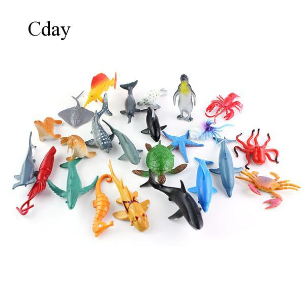 24PCS Mini Simulation Sea Ocean Models Toys Set for Kids Girls Supplies C603