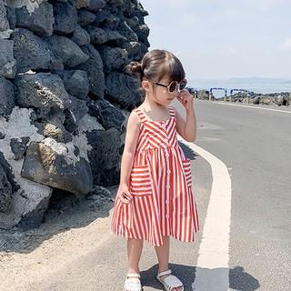 Đầm xòe không tay họa tiết kẻ sọc đáng yêu cho bé gái