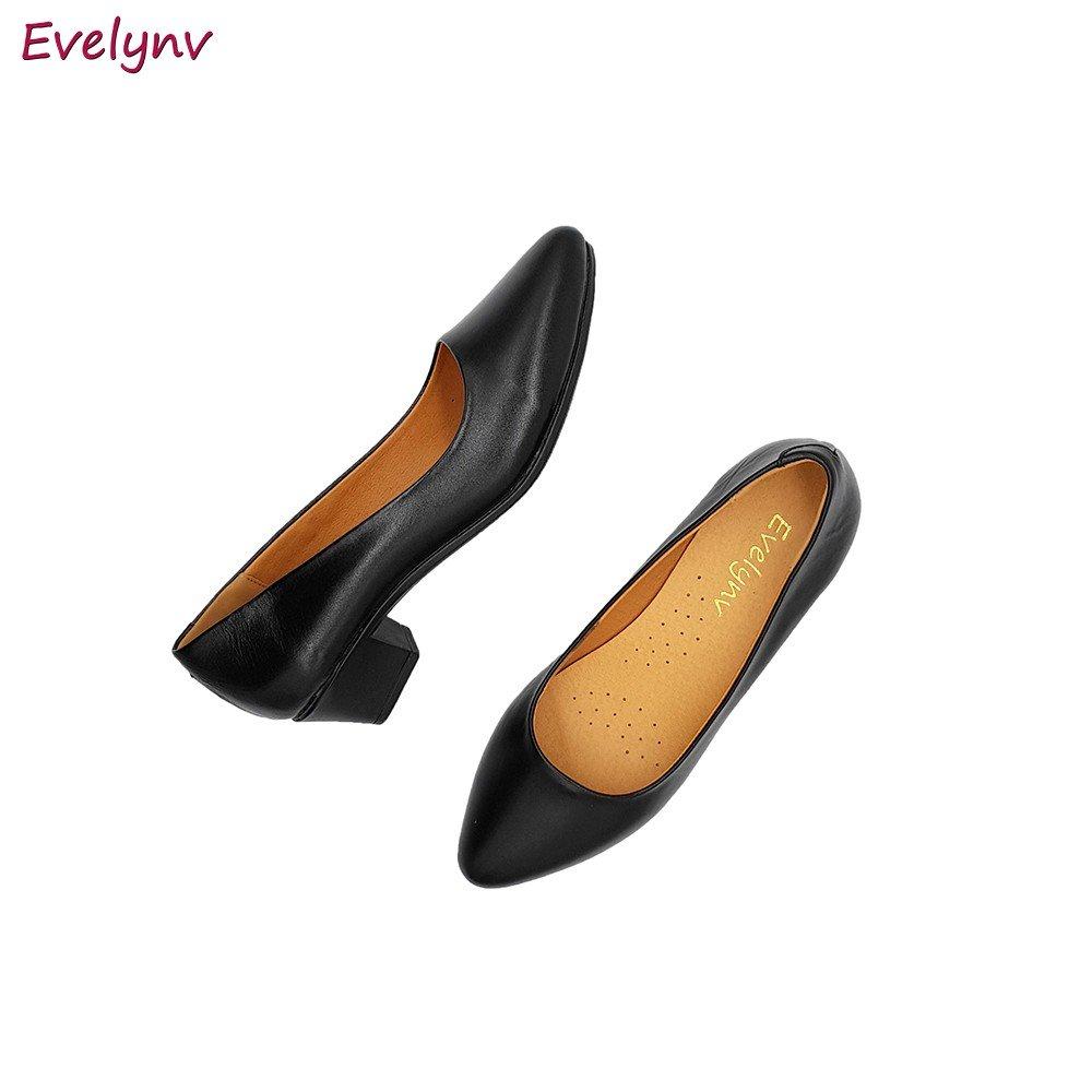 Giày Cao Gót Đế Vuông Giày Gót Vuông Da Bò Nguyên Tấm Sang Trọng Evelynv 3P0116 (Đen)