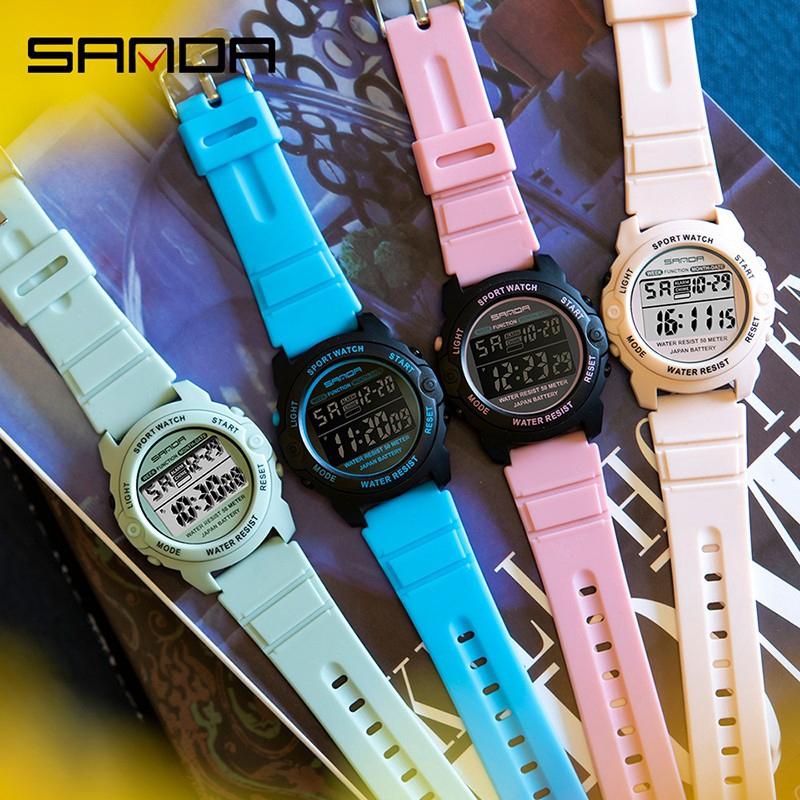Đồng Hồ Kỹ Thuật Số SANDA 6003 Dòng Màu Hồng Phong Cách Thể Thao Chống Thấm Nước Sang Trọng Cho Nữ