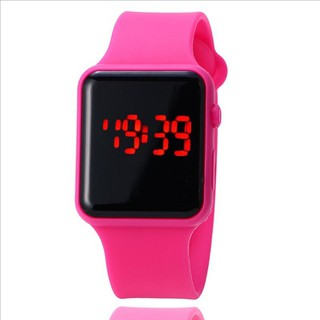 Đồng hồ thời trang nam nữ Led phong cách Hàn dây hồng QA3452 Dây hồng