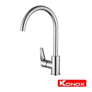 Vòi rửa bát xoay 360 độ KONOX KN1201 hợp kim đồng 61% tiêu chuẩn Châu Âu CW617N, bề mặt xử lý công nghệ PVD Chrome 5 lớp