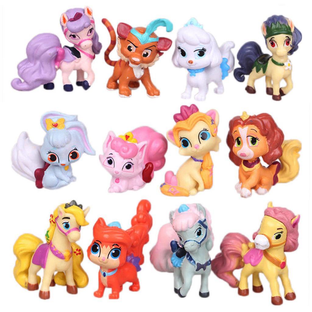 12PCS Princess-Palace-Pets Cats Dogs Horses PVC Mini Action Figures Kids Toys