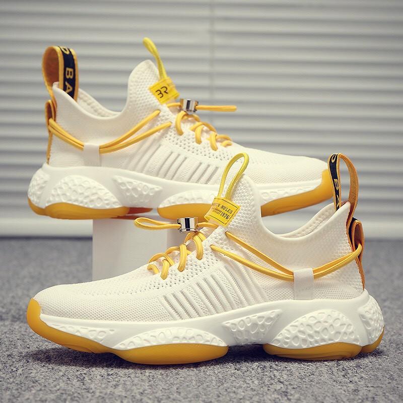 Giày nam màu trắng dây vàng kiểu dáng mới cực đep
