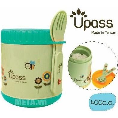 Hộp giữ ấm thức ăn không BPA có kèm thìa, dĩa (nĩa) 400cc UP9552Y