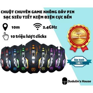 [NHẬP MÃ GIẢM SỐC] Chuột không dây chuyên game pin sạc Led 7 màu