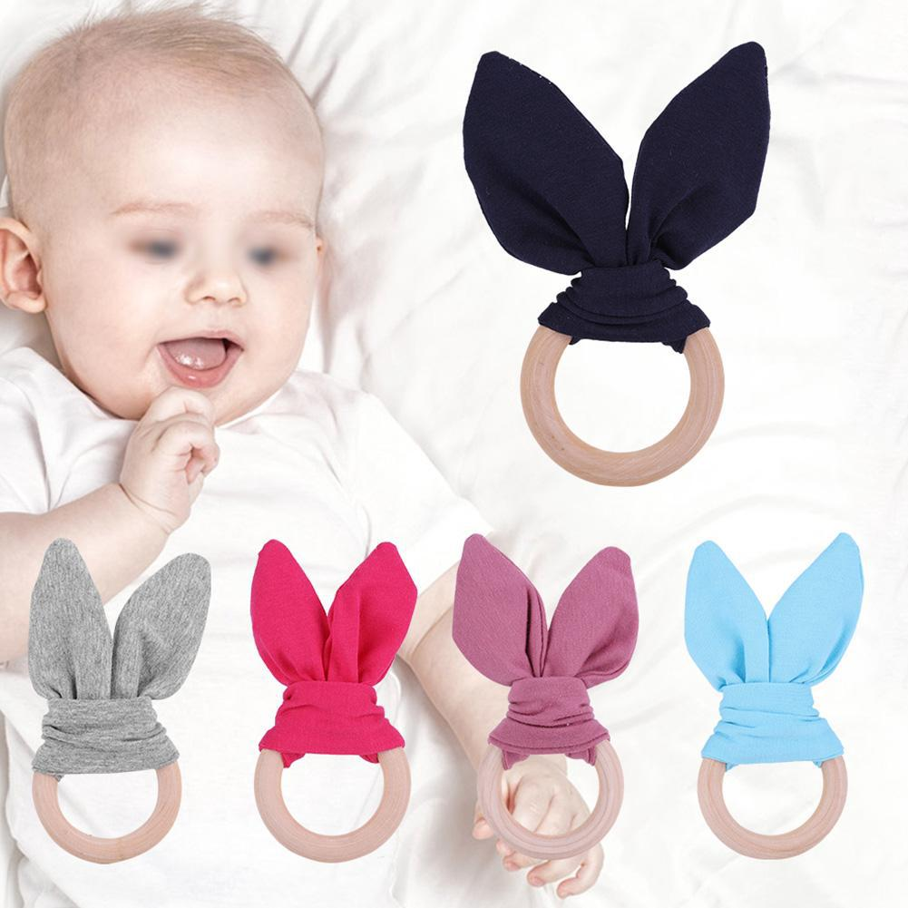 Baby Infant Lovely Bunny Rabbit Ears Teether Toy Wood