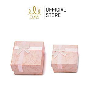 Hộp nơ vuông QMJ giấy vân đẹp màu hồng - Q109