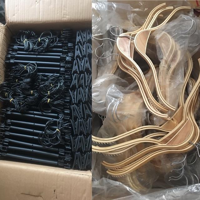 Combo 200 móc gỗ ép và 100 kẹp nhựa tăng đơ
