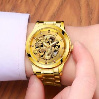 Đồng hồ thời trang Nam Rồng vàng có lịch - kim dạ quang siêu sang MS935
