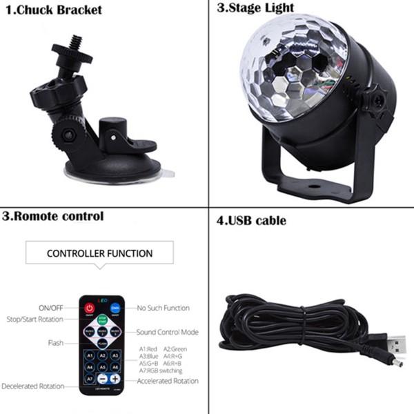 Đèn led 3w quẩy tại nhà- hiệu ứng sáng như bar - cảm ứng - nháy - đổi màu theo nhạc -HAYBộ 3 Đèn LED Dán Tường Điều Khiể