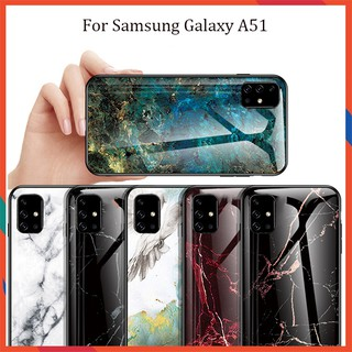 Samsung Galaxy A51 Hard Case Aurora Marbling Glass Case Covers