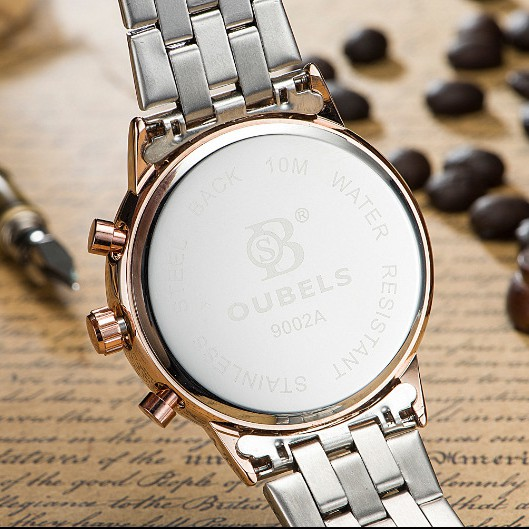 Đồng hồ nam OUBELS chính hãng Fullbox, dây thép không gỉ, kim da quang có lịch ngày - OUBS3