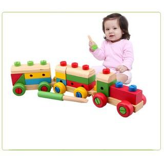 Đồ chơi gỗ tàu hỏa lắp ghép