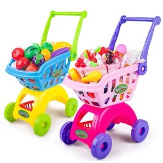 Xe đẩy trẻ em kèm hoa quả và bánh kem hàng nội địa Trung Quốc