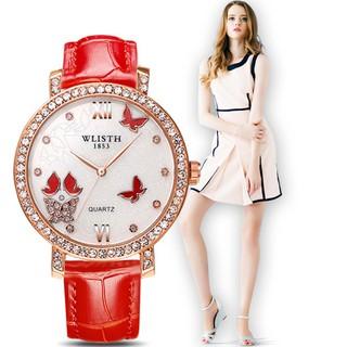Đồng hồ nữ WLISTH W608 mặt đính đá sang trọng dây da 4 màu thời trang thumbnail
