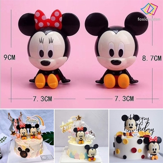 [FCD] 2pcs Carton Micky & Minie Mouse Action Figures for Kids Birthday Cake Decoration Bakery Cakes Topper Supply