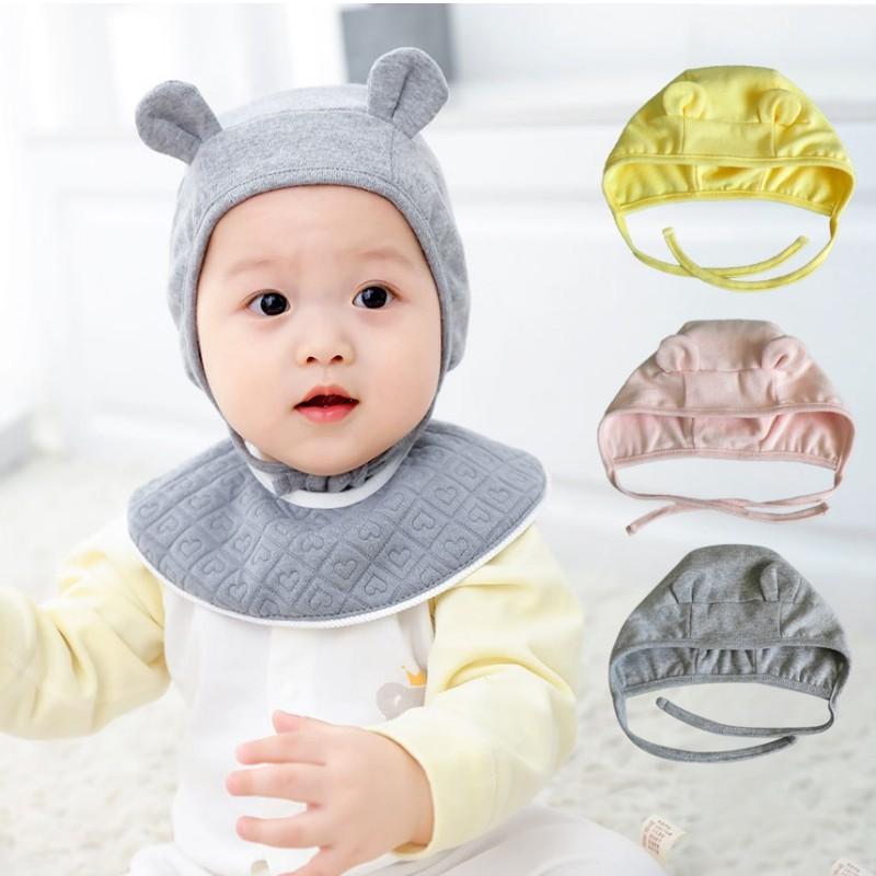 Mũ trùm đầu màu trơn thiết kế tai thỏ cho bé