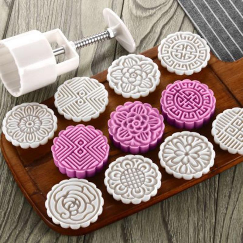 BLM❤75/125G Mooncake Mold + 8 Flower Stamps DIY Baking Pastry Moon Cake Mould Tool