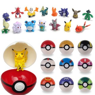 8pcs Pokemon 7cm Pokeball Pop-up Ball Cartoon & Monsters Figures Toy Kids Gift