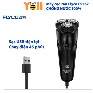 Máy cạo râu 3 lưỡi Flyco FS367, chống nước tiêu chuẩn IPX 7, Có màn hình hiển thị pin