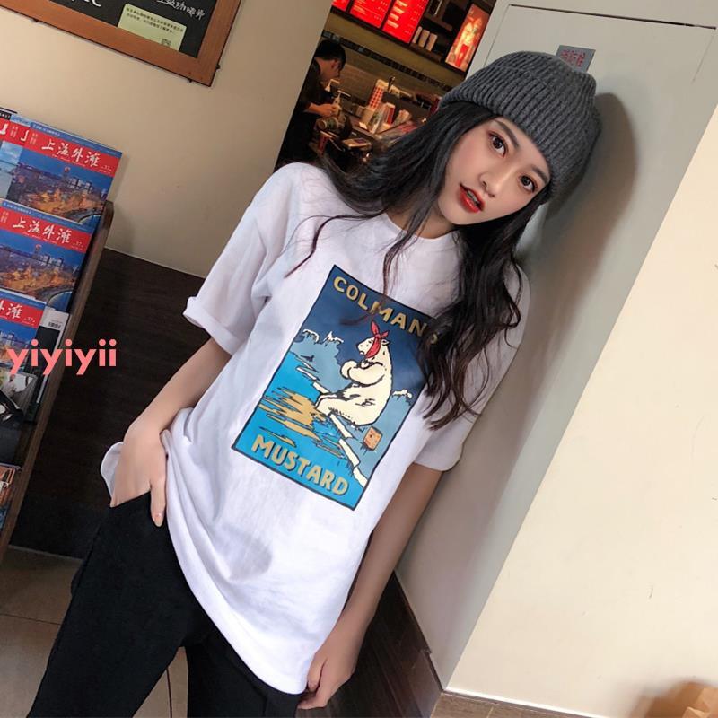 Phim hoạt hình in áo thun ngắn tay nữ phiên bản mới Hàn Quốc